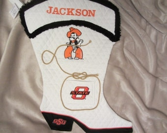 Oklahoma State Pistol Pete Personalized Christmas Stocking