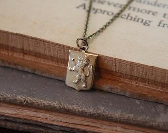 Lion Necklace - Heart of a Lion - Lion Shield Necklace - Leo Necklace