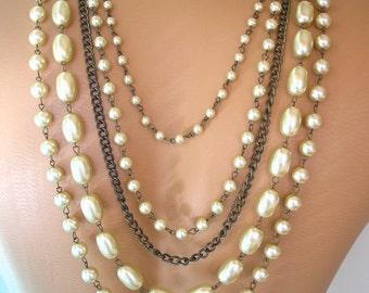 Backdrop Necklace Statement Necklace Gatsby Pearls Wedding Necklace Bridal Jewelry Wedding Jewelry Topaz Rhinestone Aurora Borealis Art Deco