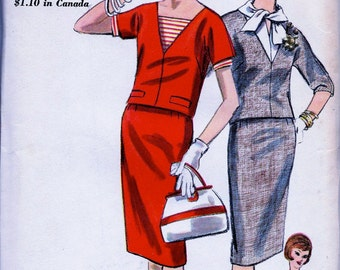 1960's  VOGUE  Pattern  5219 // Two Piece Dress, Deep V Neckline Blouse and Dickey // Size 12, Bust 32 * UNCUT