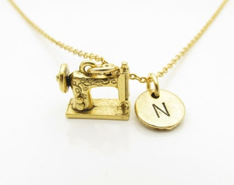Sewing Machine Necklace, Personalized, Initial Necklace, Antique Gold Sewing Machine, Arts and Crafts Necklace, Stamped Initial Letter Z293