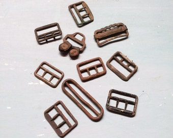 Vintage buckles. Paris Suspender Buckles. Antique Suspender Buckle. Antique. Vintage Brass copper buckle. Industrial. Antique buckle.