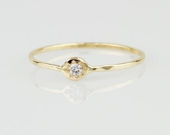 Evil Eye Diamond Ring - Solid 14k Gold Natural White Diamond Evil Eye Ring - Rose or White or Yellow Gold - Tiny Delicate Stack Ring