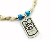Teach Peace Necklace, Hemp Jewelry, Peace Sign, Hippie Jewelry, Boho