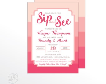 Girl Sip and See Invitation, Pink Stripes Chic Baby Shower Invites, Printed Sip N See Invitations, Printable Sip-N-See Invite - Brandy