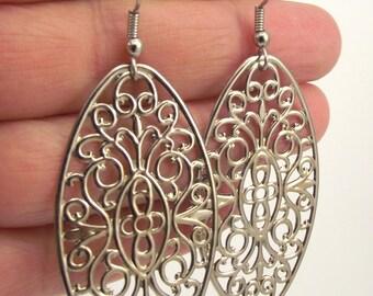 Silver Filigree Oval Earrings, Silver Filigree Earrings