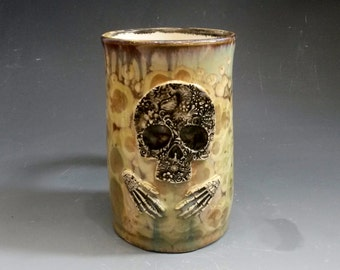 Large Art Nouveau Flower Floral Skull with Skeleton Hands Turquoise Tan Gold Brown Crystalline Glazed Bone Handle Large Beer Mug Stein