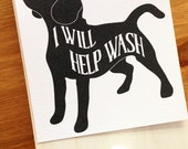 Dog Tea Towel Peg - Kitchen Art Block - Dog Wall Art - Kitchen Tea Towel Hook - Dog Housewarming Gift - Kitchen Dog Art