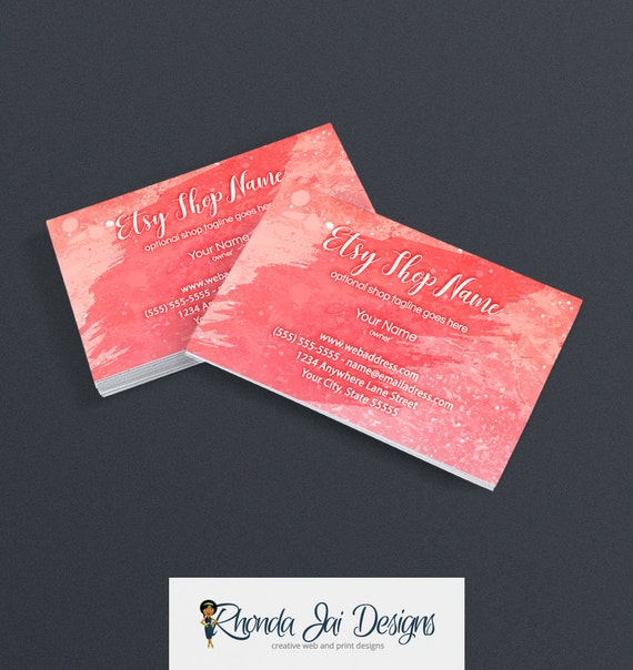 Items similar to business card designs for etsy shop for Etsy shop business cards