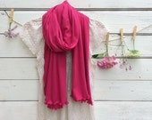 Jersey Scarf, Raspberry Pink Scarf, Long Scarf, Wrap, Shawl, Cotton Jersey Scarf, Spring Scarf, Summer Scarf, Fashion Accessories for Women
