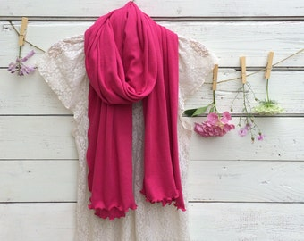 Jersey Scarf, Raspberry Pink Scarf, Long Scarf, Wrap, Shawl, Cotton Jersey Scarf, Fall Scarf, Winter Scarf, Fashion Accessories for Women