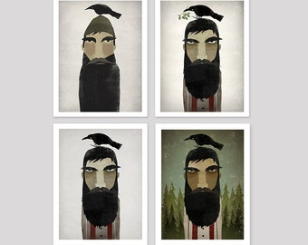 CHOOSE YOUR LUMBERJACK! Lumberjack and Crow -  Art Print by Ryan Fowler Native Vermont