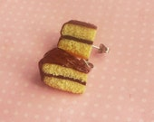 Polymer Clay Yellow Chocolate Frosted Cake Slice Stud, Post Earrings, Food Jewelry