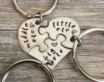 3 Sisters Keychain, Big Sis Middle Sis Little Sis Keychain, Big Sister, Middle Sister Little Sister, Sisters gift, Three Sisters