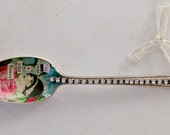 Decoupaged Vintage Spoon-Rhinestones, Assemblage, Collage, Silver Plated Spoon, Lace, Mixed Media