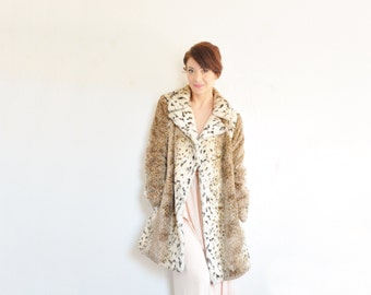 faux fur mod Bobalinx coat . snow leopard cheetah double breasted jacket .medium