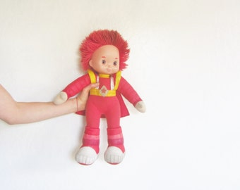 large 1980 red butler plush toy . rainbow brite boy . pop culture cartoon character .sale s a l e