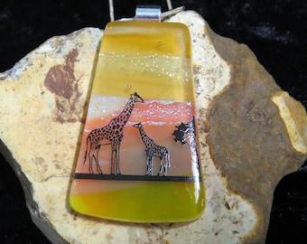 Dichroic Glass Pendant - Fused Glass Jewelry - Dichroic Glass - Fused Glass Pendant - Fused Glass UK - Landscape Glass Pendant - Giraffe