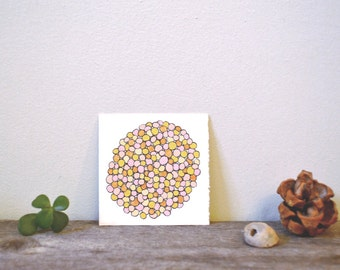 """tiny original art: """"sand pebble orb,"""" ink and gouache painting"""