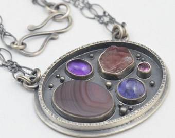 tourmaline, botswana agate, amethyst, iolite and rhodolite garnet sterling silver necklace pendant