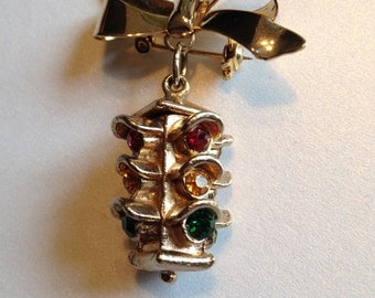 Dangling Stoplight Brooch Bow Four Sided Red Yellow Green Rhinestones