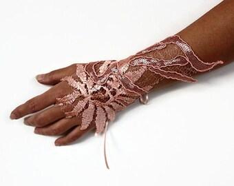 Blush Pink Wrist Cuff Corsage Evening Wrist Charm Peach Guipure Lace Bridal Glove Bridesmaids Gift Dusty Rose Accessory Unique Design II