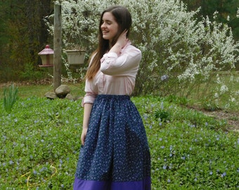 Girl's skirt, modest with beautiful purple flowers on a navy background w/purple band at hem