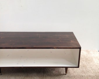 FREE SHIPPING!!  Modern Handmade Coffee Table Mid Century Modern in Chocolate and White (or custom color) Coffee Table Midcentury