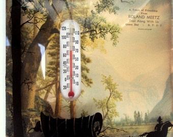 Vintage Thermometer, Advertising, Concave Glass,Silhouette Painting, Covered Wagon Cowboy, 1930s, Mountain Landscape, Business Advertising