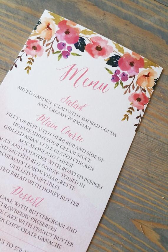 wedding menu, wedding menu cards, watercolor wedding menus, modern wedding menu