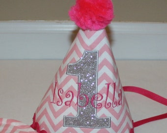 first birthday hat girls with glitter silver gray and pink accents, girls 1st birthday outfit, cake smash 1st birthday hat