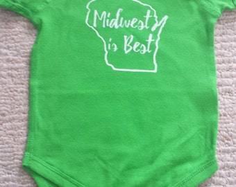 Wisconsin 'Midwest is Best' Onesie - Lime Green