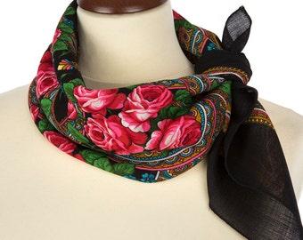RUSSIAN SHAWL, wool scarf,  pavlovo posad, cashmere shawl, neck scarf, womens shawls, black scarf, red shawl, dress shawl, floral shawl