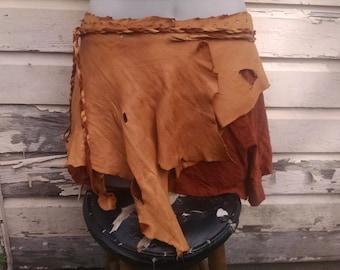 Caramel Leather Wrap Skirt -- burning man wasteland weekend tribal fusion belly dance amazon larp barbarian woodland
