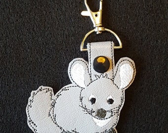 Chinchilla Key Chain (snap tab, key fob)
