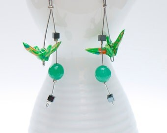 Origami earrings in handmade green paper with jade and hematite beads