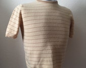 Vintage Men's 70's Knit Shirt, Lambswool, Tan, Striped, Short Sleeve by Barrie (S)