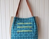 Lantana Shoulder Bag in Teal and Green with Flax Linen and Brown Faux leather