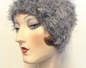 Eyelash head band, neck warmer, collar, scarf, scarflet, grey, Free shipping in the US