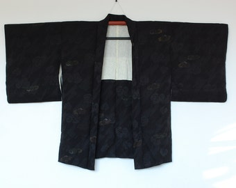 Authentic Japanese Kimono Jacket Black With Delicate Leaf Design Haori 二