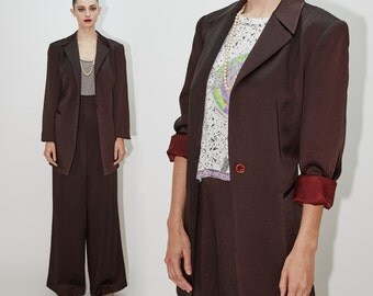 OSCAR de la RENTA Espresso Dark Brown Pant Suit, Two Piece Blazer Slacks Set, Oversize Jacket & High Waisted Pants, Designer Vintage, size 8
