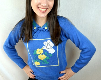 Cute 80s Collared Country Blue Sweater - Eagle's Eye - XS