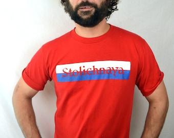 Vintage 80s Stoli Russian Vodka Red Stolichnaya Tshirt Tee Shirt