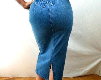 Vintage 80s Long Western Denim Skirt - Adobe Rose