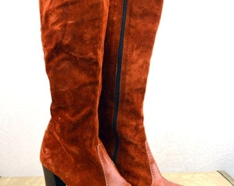 Tall Vintage 60s Suede Go Go 1960s MOD Wing Tip Boots Shoes - Amalfi Size 7