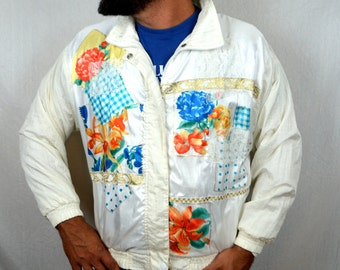 Vintage 80s Floral 3D Windbreaker Jacket Coat