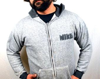 Rare Vintage NIKE 1980s Block Letter Gray Zip Up Sweatshirt
