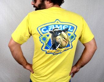 Vintage 1989 Yellow Camel Cigarette Tee Shirt Tshirt
