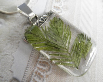 Cypress Tree Sprigs Glass Rectangle Pendant-Symbolizes Hope-Nature Inspired-Gifts Under 30-Nature's Wearable Art