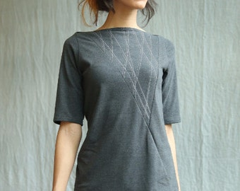 Triangle Top, Women's Top, Cotton Jersey with White Lines, mid sleeves, geometric, modern style- made to order, one of a kind